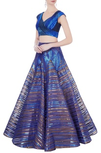 Blue sequin blouse & flared lehenga
