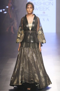 Black & gold cape with lehenga