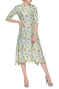Multicolored silk asymmetric dress