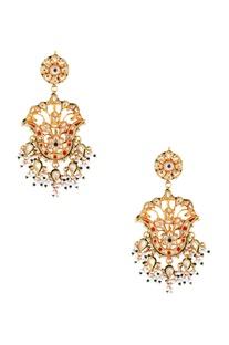 Multi-colored kundan tulip earrings