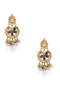 Multi-colored navratan chaandbaala earrings