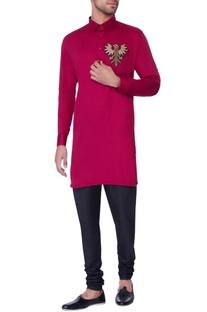 Red embroidered classic kurta