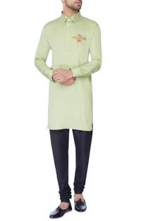 Mint green embroidered classic kurta
