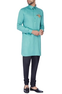 Blue embroidered classic kurta