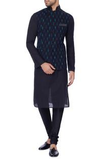 Navy blue printed nehru jacket