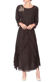 Black embroidered layered kurta