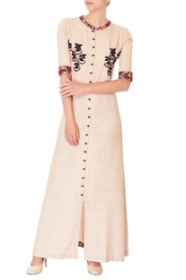 Powder pink embroidered maxi dress
