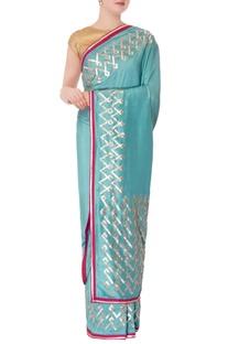 Turquoise blue tussar sari & unstitched blouse