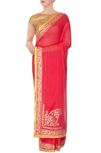 Pink chiffon sari with unstitched blouse
