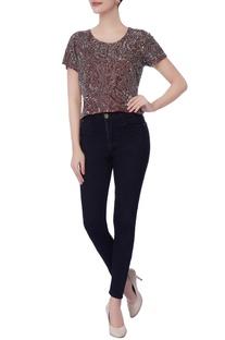 Maroon cutdana work blouse