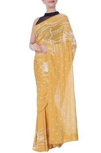 Ochre yellow bead work embellished sari