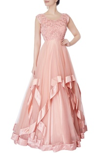 Nude pink mirror embellished gown