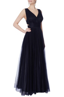 Black net cutout cross-over back gown
