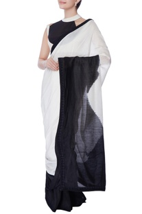 Black & white dyed sari with blouse