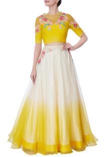 White & yellow organza floral lehenga & blouse