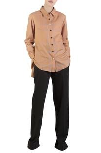 Orange check shirt with tie-up drawstrings