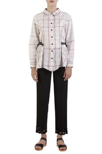 White oxford shirt with tie-up straps