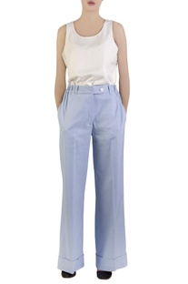 Blue cotton spandex flared pants