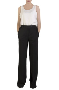 Black trousers with elasticized waist