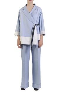Blue cotton spandex kimono jacket