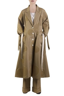 Khaki brown flared overcoat