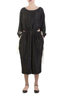 Black central front slit dress