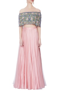 Rose pink lehenga & off-shoulder blouse