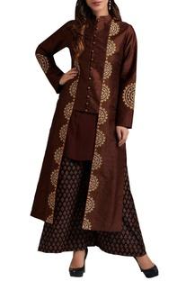 Brown silk jacket set
