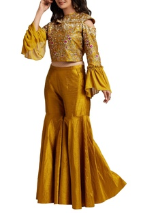 Mustard yellow crop top with sharara pants