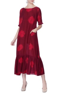 Maroon hand-dyed floral dress