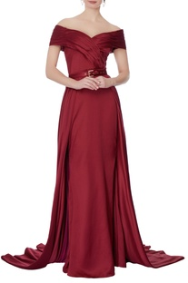 Maroon off shoulder gown with detachable skirt
