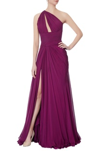 Purple one shoulder chiffon gown