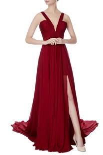 Maroon chiffon v-neck gown