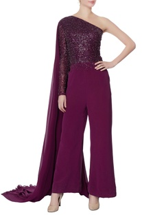 Purple one-shoulder sequin jumpsuit
