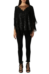Black sequin & tassel top