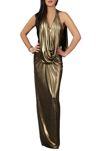 Gold shimmer draped gown