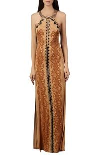 Beige tribal printed maxi dress