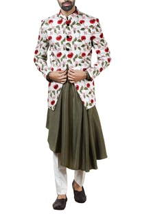 White floral bandhgala with pants & kurta