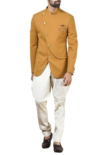 Mustard overlap bandhgala with off-white trousers