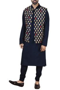 Blue silk nehru jacket set