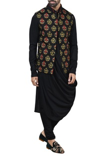 Black embroidered nehru jacket set