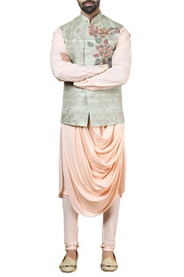 Green tussar silk nehru jacket set