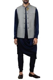Grey quilted silk nehru jacket set