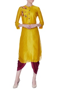 Yellow hand embroidered floral kurta
