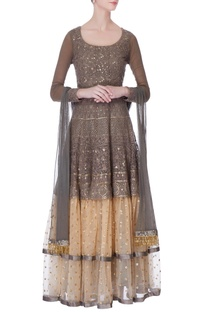 Grey & gold thread embroidered anarkali