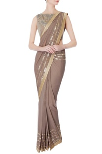 Taupe pre-draped embroidered sari with blouse