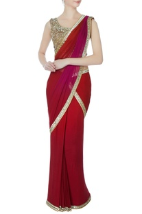 Maroon pre-draped sequin sari with blouse