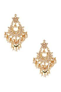 White semi-precious stones gold plated chaandbalis