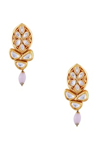 Pink semi-precious stones gold plated stud earrings