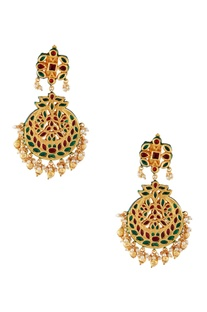 Red semi-precious stones gold plated earrings